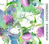 Pink Thistle Floral Botanical...