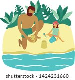 father and daughter playing on... | Shutterstock .eps vector #1424231660