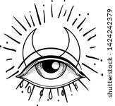 blackwork tattoo flash. eye of... | Shutterstock .eps vector #1424242379