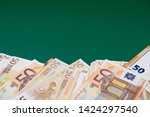 fan of fifty euro banknotes on... | Shutterstock . vector #1424297540