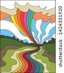 colorful landscape vintage...   Shutterstock .eps vector #1424331920