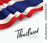 vector flag of thailand. fabric ... | Shutterstock .eps vector #1424335739