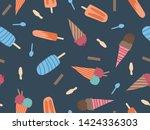 summer theme seamless pattern... | Shutterstock .eps vector #1424336303