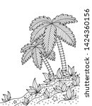 sea doodle coloring book page... | Shutterstock .eps vector #1424360156