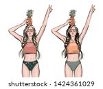 girls with pineapple in orange...   Shutterstock .eps vector #1424361029