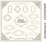 vintage ornaments a set of... | Shutterstock .eps vector #1424369609