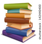 stack of multi colored books | Shutterstock .eps vector #142440400