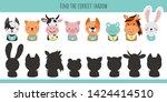 Stock vector animals learning children game find the correct shadow dog cat cow pig frog hare horse 1424414510
