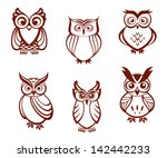 Stock vector set of cartoon owls for wisdom or education concept design all birds are isolated on white 142442233