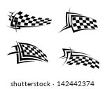 Tribal signs with checkered flags for sports or tattoo design. Jpeg version also available in gallery