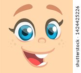 cartoon girl exciting. cute...   Shutterstock . vector #1424425226