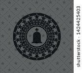 tombstone icon inside black... | Shutterstock .eps vector #1424425403