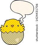 cartoon chick hatching from egg ...   Shutterstock .eps vector #1424431706