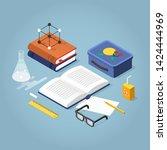 vector isometric school... | Shutterstock .eps vector #1424444969