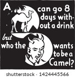 a camel can go 8 days   retro...   Shutterstock .eps vector #1424445566