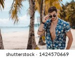 handsome mature male model with ... | Shutterstock . vector #1424570669