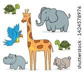 simple set of cartoon animals ... | Shutterstock .eps vector #1424578976
