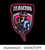 Women Shooter Mascot Logo For...