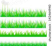 vector beautiful grass set with ... | Shutterstock .eps vector #142464940
