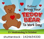 bring your teddy bear to work... | Shutterstock .eps vector #1424654330