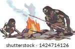 two neanderthals. two cavemen... | Shutterstock .eps vector #1424714126