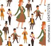 vintage victorian cartoon gents ... | Shutterstock .eps vector #1424717276
