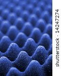 Blue acoustic foam close-up, shallow depth of field - stock photo
