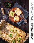 fresh australian meat pie with... | Shutterstock . vector #1424740370