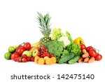 assortment of fresh fruits and... | Shutterstock . vector #142475140