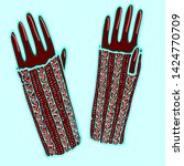 realistic hand drawn mittens... | Shutterstock .eps vector #1424770709