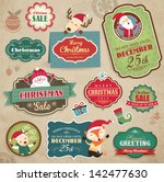 christmas stickers  gift tags   ... | Shutterstock .eps vector #142477630