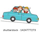 car and children  two boys and... | Shutterstock .eps vector #1424777273