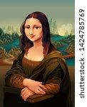 interpretation of mona lisa ... | Shutterstock .eps vector #1424785769