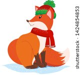 fox in a hat in the snow in... | Shutterstock .eps vector #1424854853