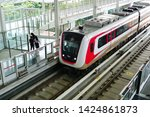 Small photo of Jakarta, Indonesia June 15, 2019: Jakarta LRT train trial run for phase 1 from Velodrome Rawamangun to Kelapa Gading in a distance of 5,8 KM with 6 elevated stations.