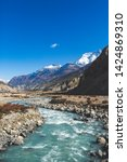 marsyandi river near braka...   Shutterstock . vector #1424869310