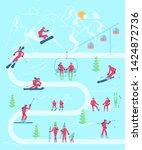 mountain ski resort infographic ...   Shutterstock . vector #1424872736