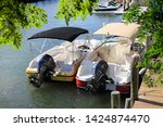 close up docked beautiful boats ... | Shutterstock . vector #1424874470