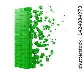 letter i shaped data block.... | Shutterstock .eps vector #1424884973