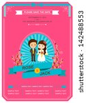 cute blue and pink rose wedding ... | Shutterstock .eps vector #142488553