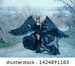 Beauty Dark Goddess In Wind ...
