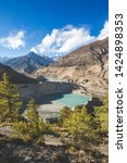 gangapurna lake with turquoise...   Shutterstock . vector #1424898353