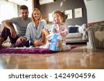 cheerful family together in the ...   Shutterstock . vector #1424904596