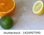 green juicy lime  orange and...   Shutterstock . vector #1424907590