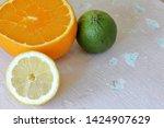 green juicy lime  orange and...   Shutterstock . vector #1424907629