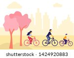 cycling together. active family ...   Shutterstock .eps vector #1424920883