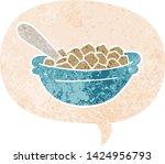 cartoon cereal bowl with speech ... | Shutterstock .eps vector #1424956793