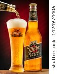 Small photo of Chelyabinsk, Russian Federation - June 15, 2019: Miller beer bottle and frosty glass full of beer with foam. Miller Genuine Draft is a product of the Miller brewery owned by SABMiller. Editorial use
