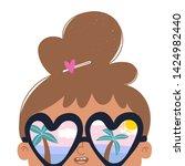 summer mood. little brunette... | Shutterstock .eps vector #1424982440