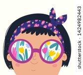 summer mood. little brunette...   Shutterstock .eps vector #1424982443
